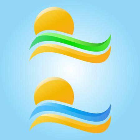 sol naciente: Rising Sun y las olas del mar, arena y hierba iconos vectoriales