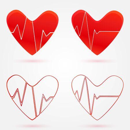oscilloscope: Set of hearts beats graph vector icons