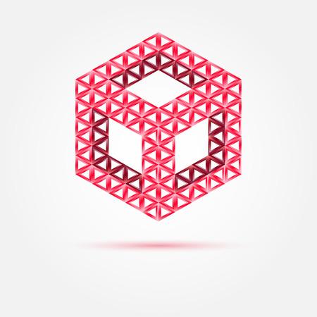 red cube: Vector rosso cubo icona isometrico realizzato con triangoli - simbolo astratto