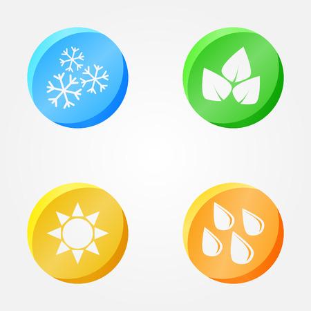 Vector symbols of 4 seasons - winter, spring, summer, autumn