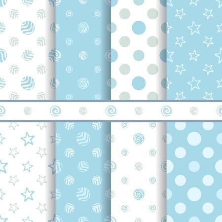 Patrones de bebé lindos del vector set - chico de color azul transparente textura Ilustración de vector