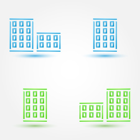 simple house: Vector minimal buildings icons - simple house symbol in blue and green colors