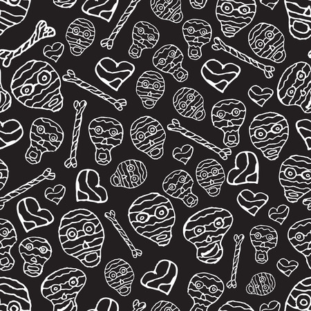 Vector seamless pattern with skulls, bones and hearts on black background Vector