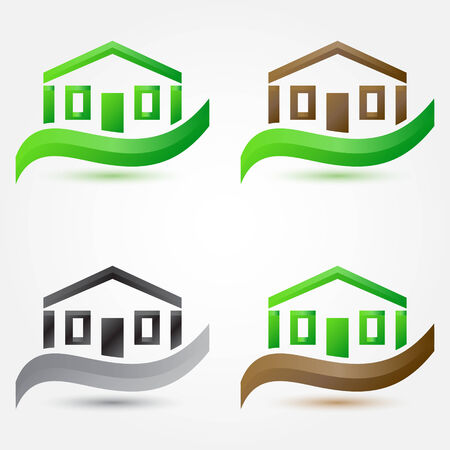 simple house: Vector simple house (buildings) icons - abstract real estate symbols