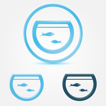 poisson aquarium: Vector aquarium (r�servoir de poissons) ic�ne avec un poisson
