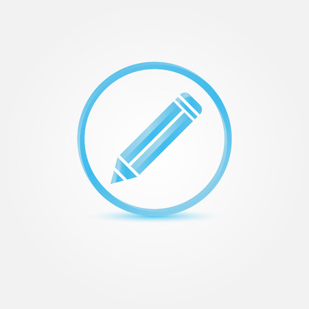 writer: Vector Pencil Icon - abstract blue vector writer symbol Illustration