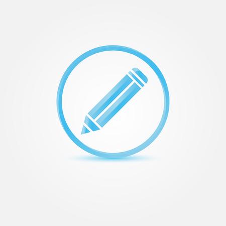 erased: Vector Pencil Icon - abstract blue vector writer symbol Illustration