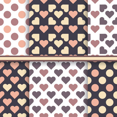 Vector set of seamless brown patterns made with hearts and dot Vector