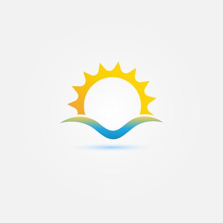 태양과 바다 웨이브 벡터 최소한의 아이콘 - 밝은 일몰 기호