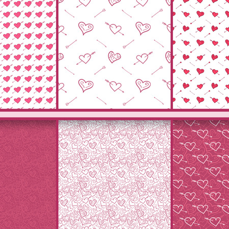 Hearts and arrows vector set of Valentines Day red seamless patterns  Vector