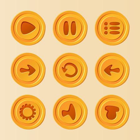 Game UI - vector set of buttons for mobile game or app, yellow play, pause, menu, reload, options, sound elements for development 矢量图像