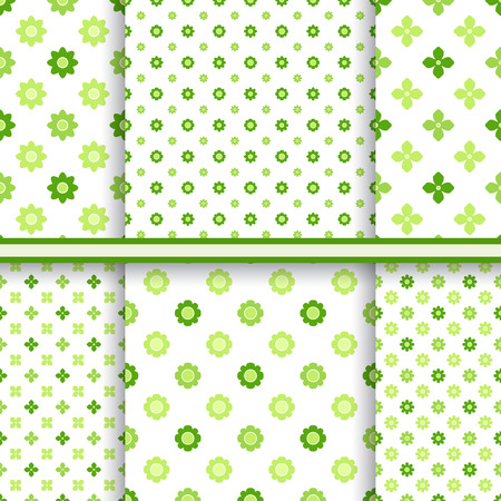 groene bloemen: Set of fresh green flowers seamless patterns - vector endless texture