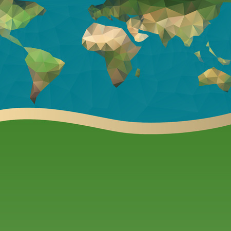 Polygonal vector World Map - abstract background with planet earth  Illustration