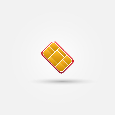 Nano SIM vector red icon  - card for mobile phones symbol Vector