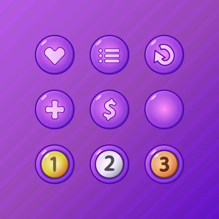 Set of game UI vector elements - violet menu, restart, add, money buttons and prize medals for gamedev Vector