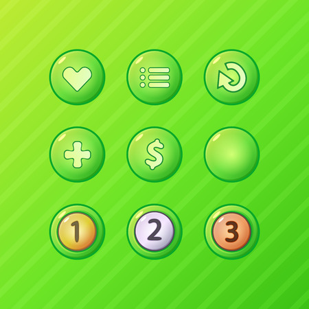 Set of bright green game UI vector elements - menu, restart, add, money buttons and prize medals  Vector