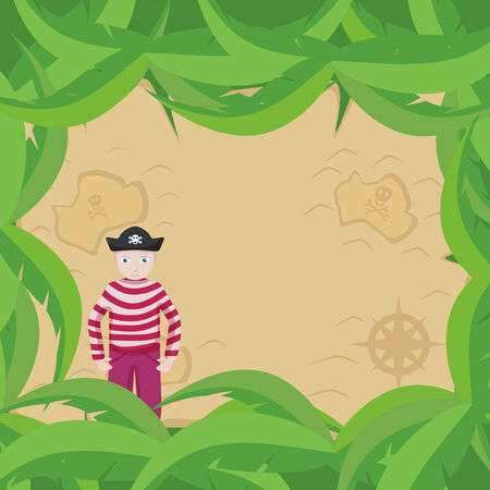 Vector illustration featuring a pirate standing in front of a treasure Map Vector
