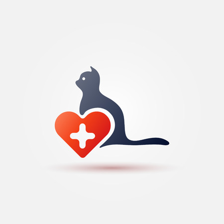 Bright vet cat icon - simple veterinarian symbol with red heart and cross and a cat