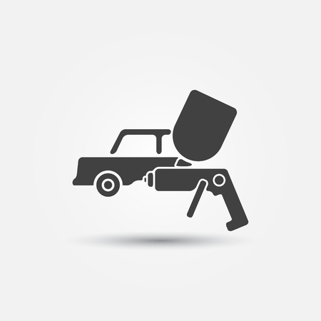 airbrush: Car paint icon - a car and paint sprayer (airbrush) symbol  Illustration