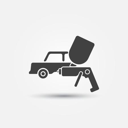 Car paint icon - a car and paint sprayer (airbrush) symbol 免版税图像 - 31430603