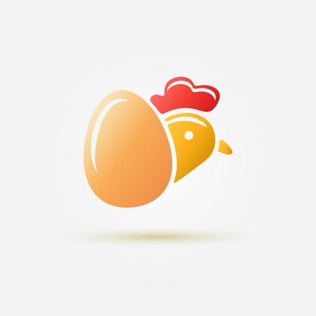 rooster at dawn: Luminoso vettore simbolo pollame l - semplice pollo e icona uovo Vettoriali