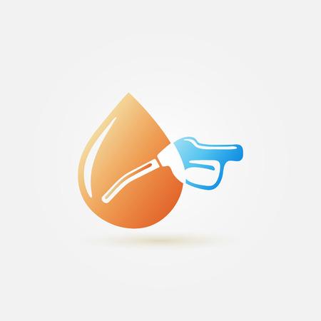 hydrocarbons: Bright abstract fuel gun (pump) vector and dot icon - gasoline fuel nozzle simple symbol