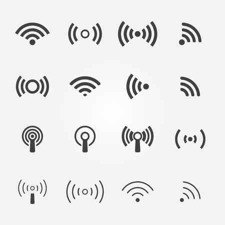 Wireless icons set - vector WiFi symbols for communication or remote access