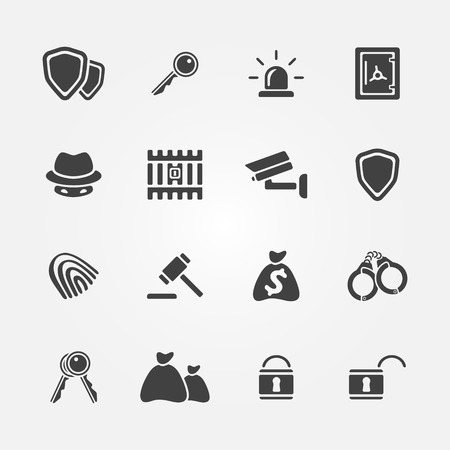 Security icons - vector simple protection symbols set in black color Vector