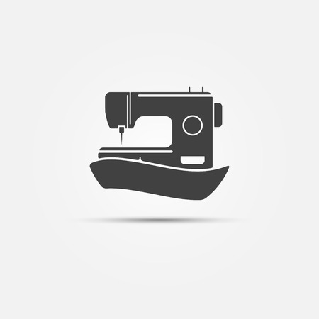 Sewing machine black symbol - vector abstract sewing icon Illustration