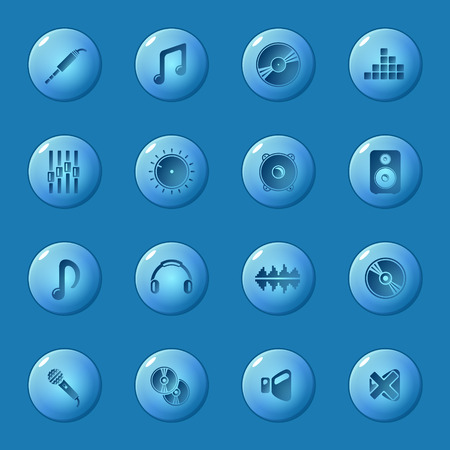 Sound icons set - vector dark blue circle glossy music buttons  Vector