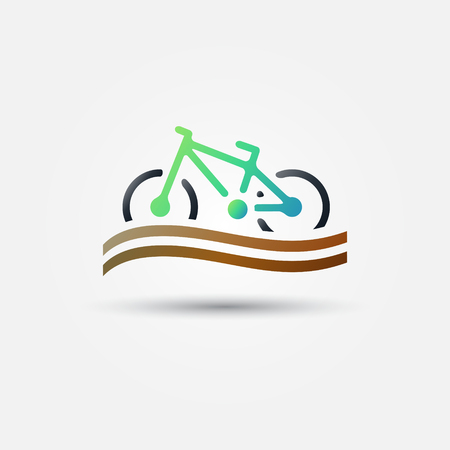 Bicycle tourism vector icon - bright bike green symbol  Vector