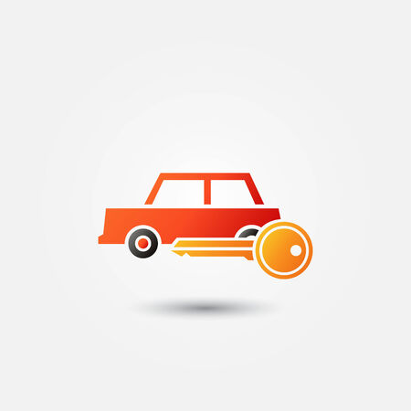 renter: Bright red car rental icon - vector symbol