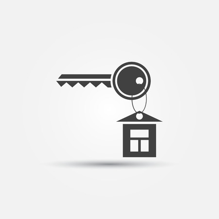 realestate: Simple keychain icon - black vector key symbol with a house