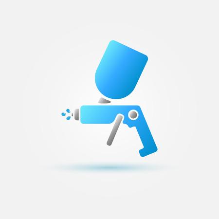 Brillante símbolo de la pintura del coche aerógrafo - icono de pistola spray azul