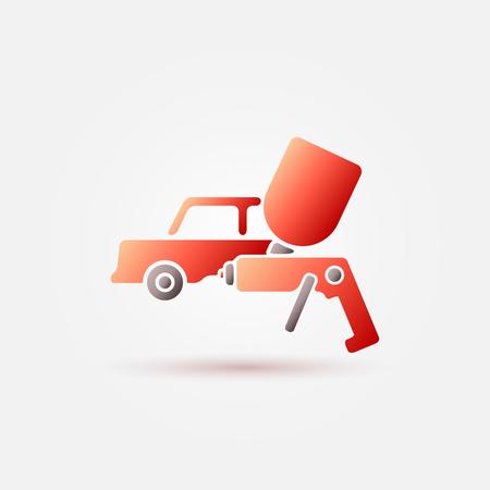 aerografo: Icono rojo de la pintura del coche - un coche y pintura pulverizador s�mbolo (aer�grafo)