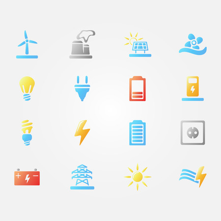Bright Vector Energy Icons Set Of Simple Electricity Symbols
