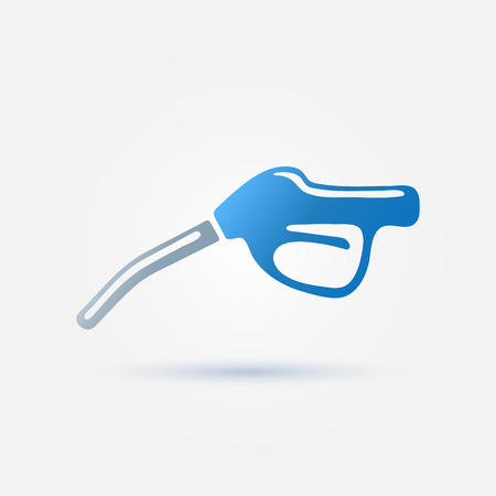 octane: Blue fuel gun (pump) vector icon - gasoline fuel nozzle simple symbol Illustration