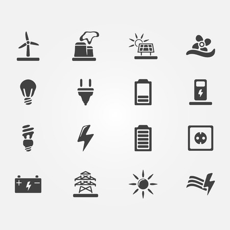 Vector energy icons - set of simple electricity symbols