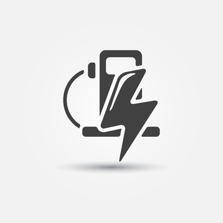 fueling: Electric fueling stations icon - vector concept of electromobile Charge station symbol