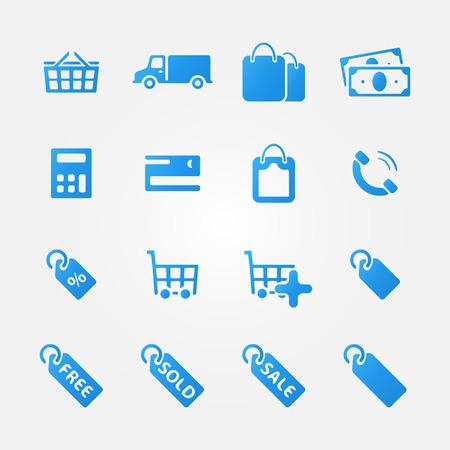Bright blue shopping icons - vector set of e-commerce symbols  Vector