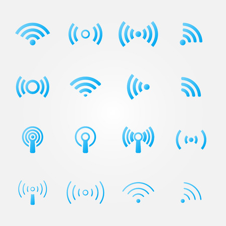wifi access: Bright blue wireless icons set - vector WiFi symbols for communication or remote access