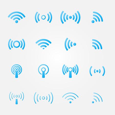 Helder blauw draadloze icons set - vector WiFi symbolen voor communicatie of toegang op afstand