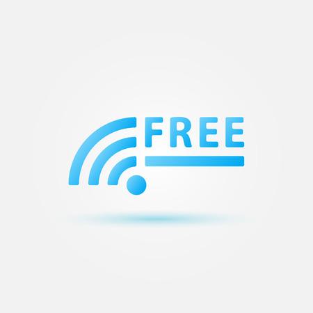 boardcast: Free Wifi Sign - blue vector wireless icon