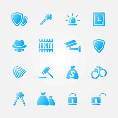 Blue security vector icons - vector simple police symbols set Vector