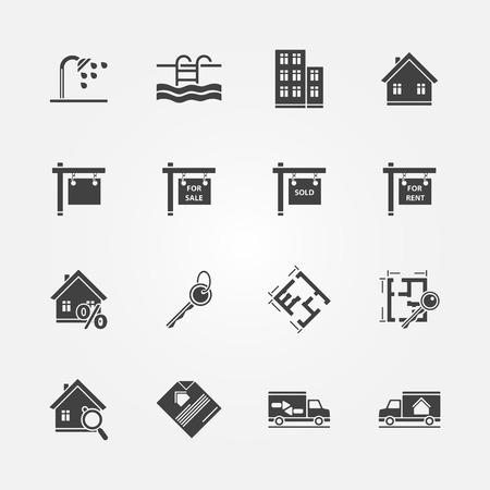 Vastgoed iconen - vector onroerend goed of makelaar symbolen