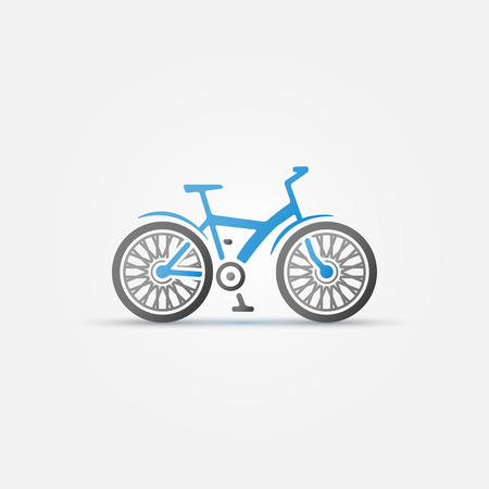 beach cruiser: Mountain blue bike icon - vector bicycle symbol Illustration