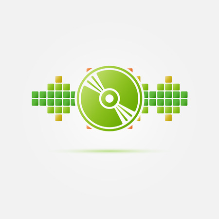 soundwave: Soundwave vector icon - green CD in bright sound wave, DJ icon
