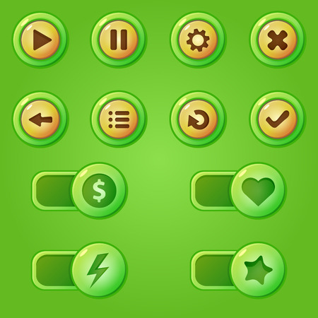 Green game design interface -  vector bars and buttons for game developmet