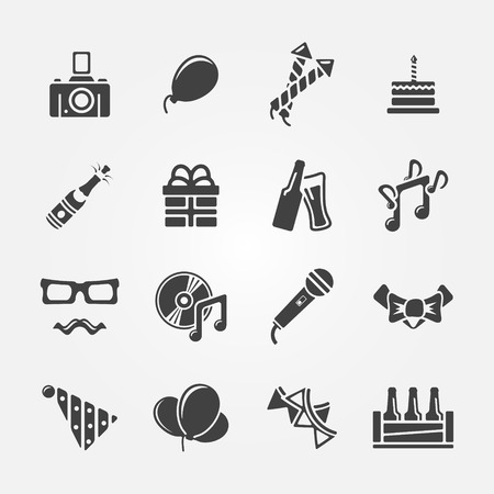 Party or birthday icons set, vector celebration symbols Vector