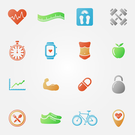 Bright fitness icons set - vector health symbols Vector